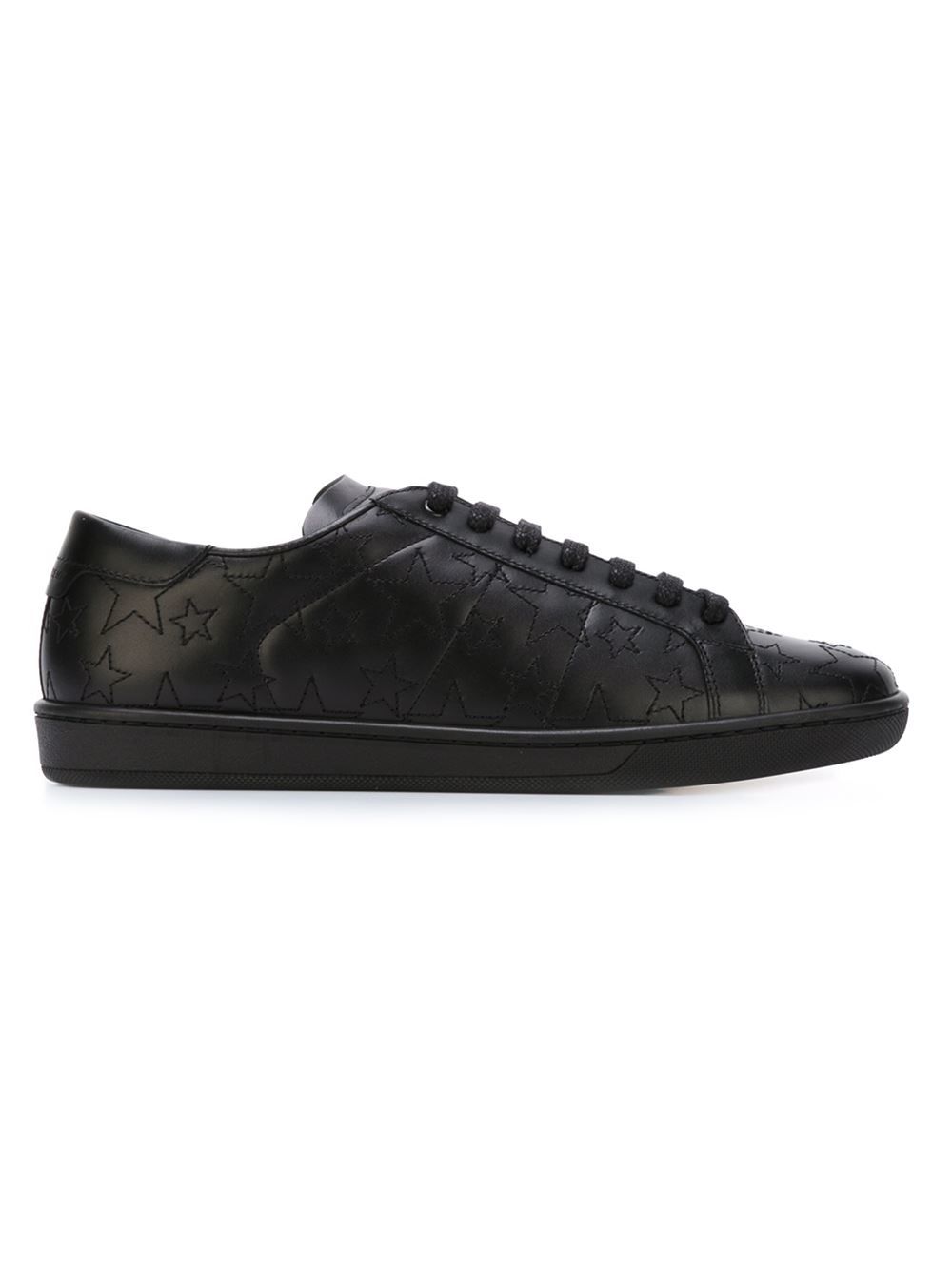 saint laurent court classic leather sneakers in black lyst. Black Bedroom Furniture Sets. Home Design Ideas