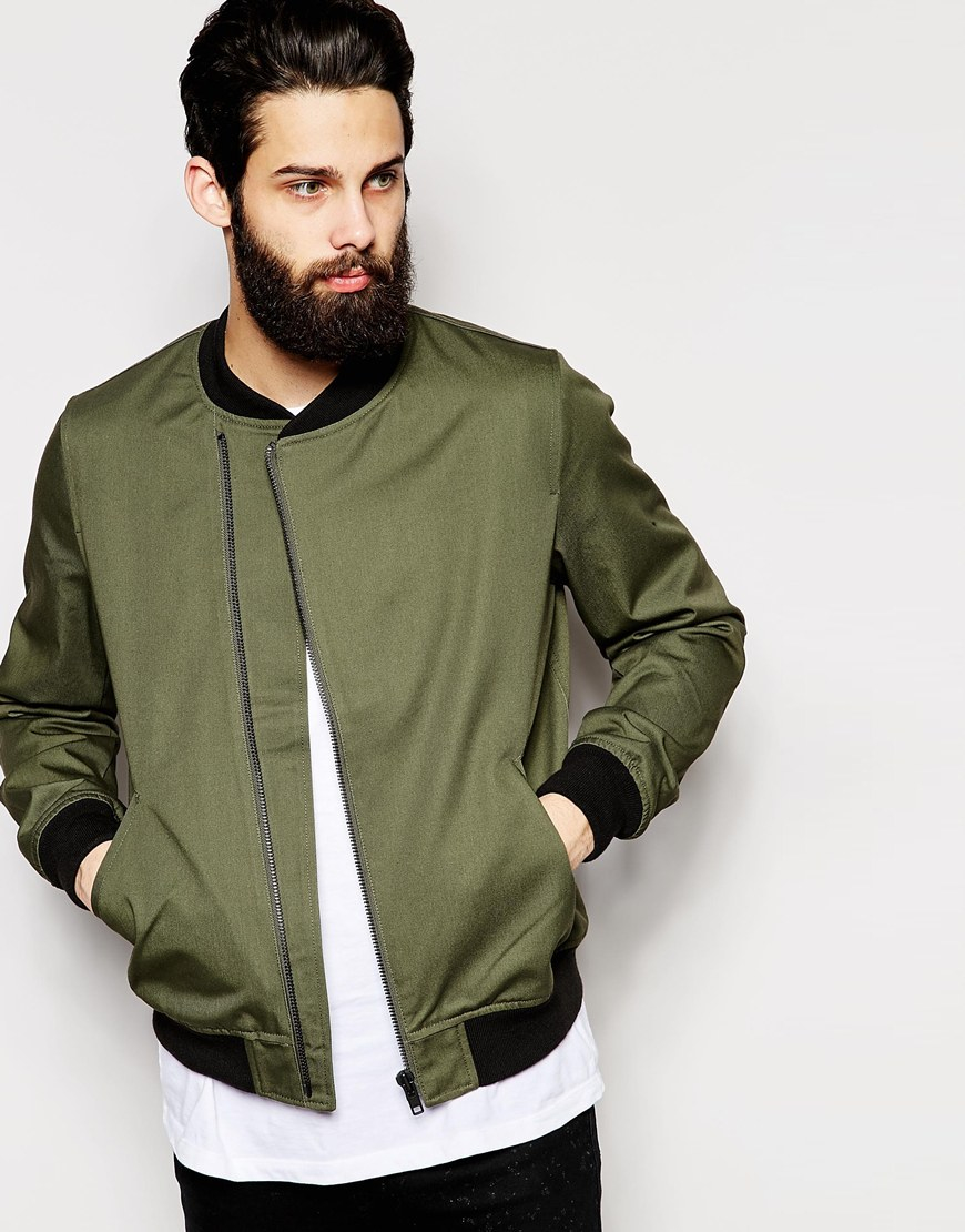 Asos Bomber Jacket With Asymmetric Zip In Green in Green for Men | Lyst
