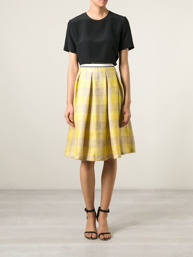 Erika cavallini semi couture Checked Pleated Skirt in Yellow | Lyst