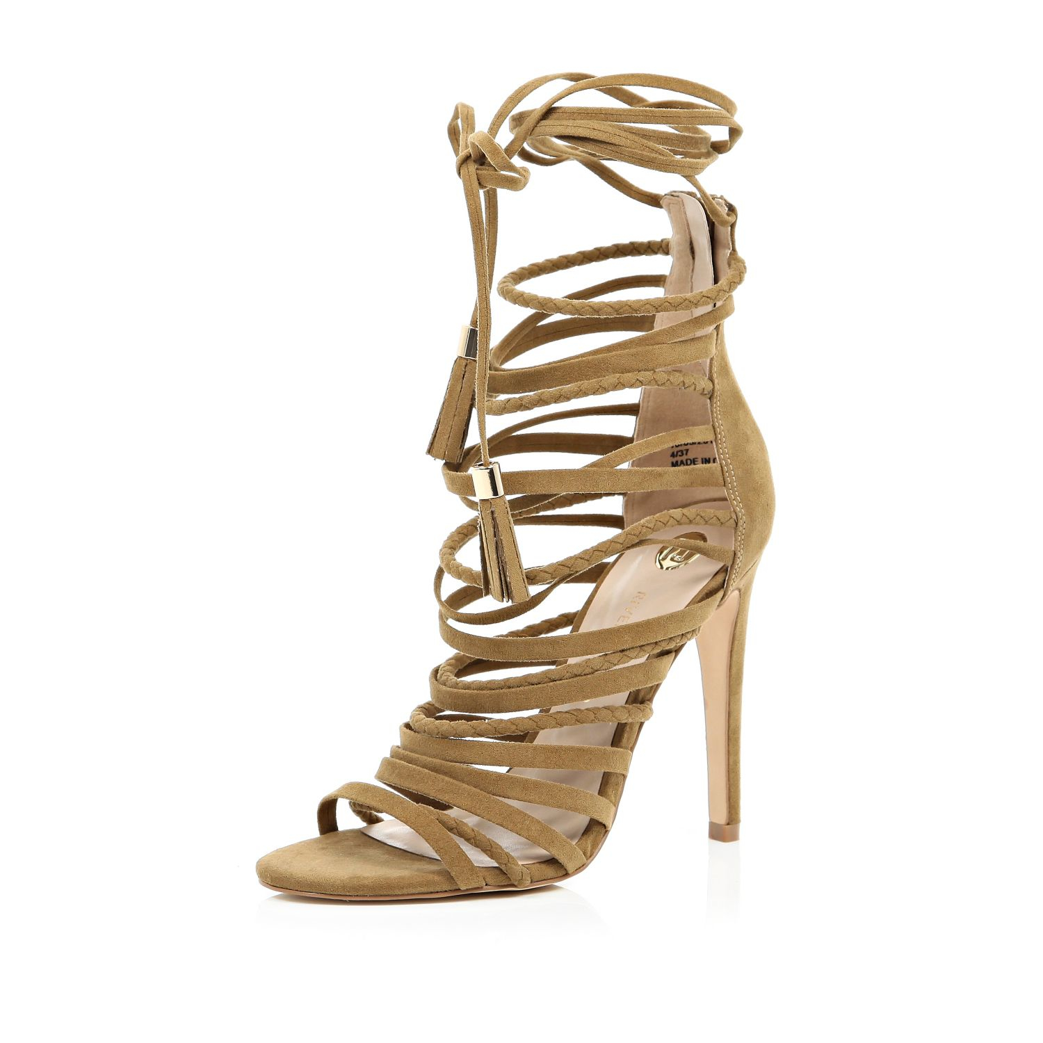 b7c584d82e9e River Island Tan Brown Strappy Heeled Sandals in Brown - Lyst