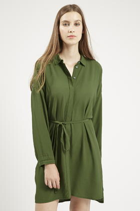official shop affordable price innovative design TOPSHOP Self-tie Shirt Dress in Khaki (Natural) - Lyst