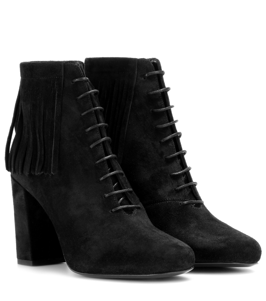 laurent fringed suede ankle boots in black lyst