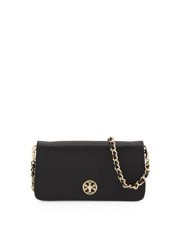 Tory burch Adalyn Saffiano Crossbody Clutch Bag Black in Black | Lyst