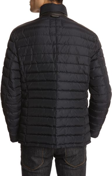 Armani Navy Down Jacket With Leather Piping In Blue For