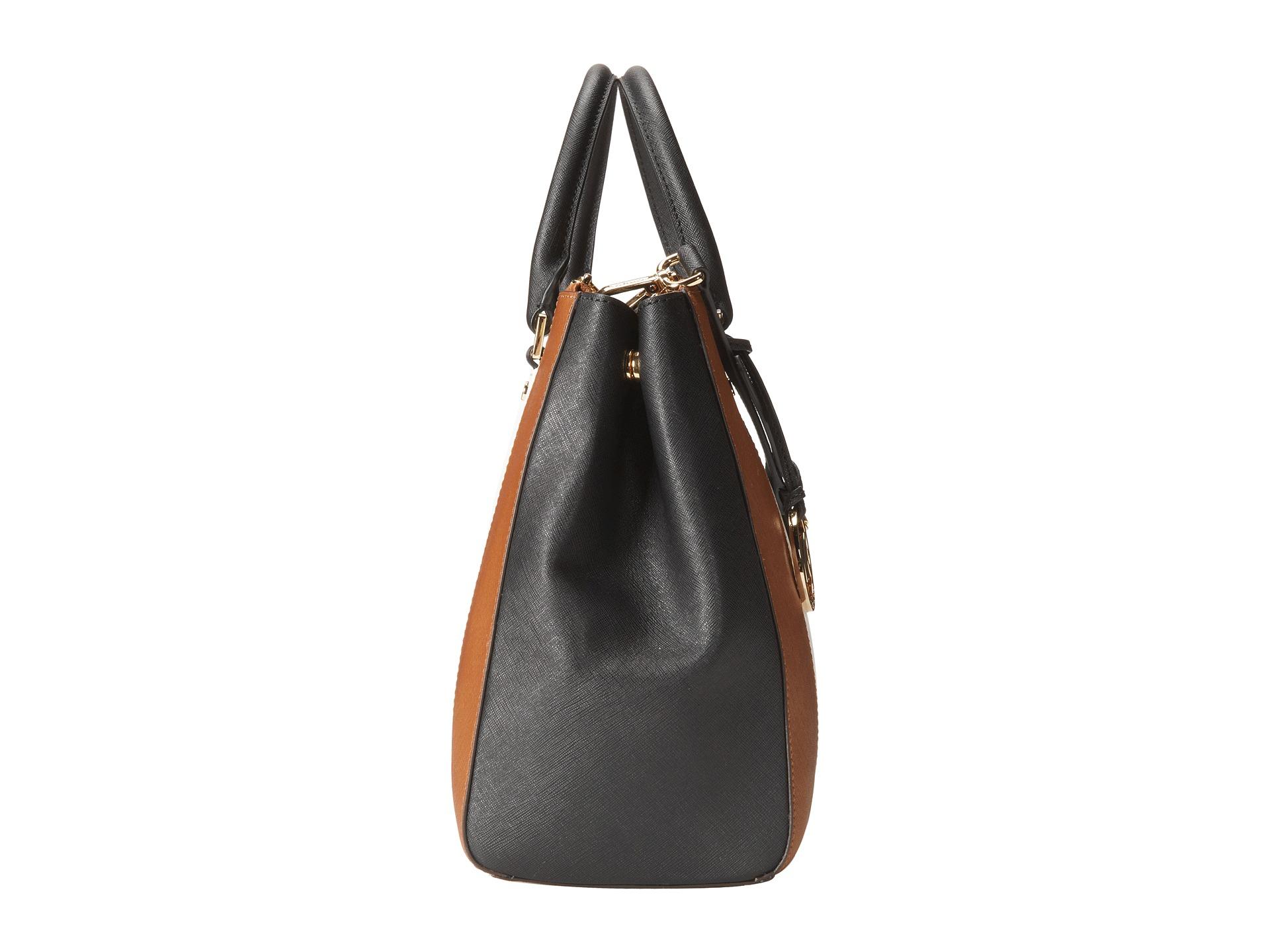 70d6664012616e official lyst michael michael kors sutton center stripe large satchel in  brown 25cca ba6a6