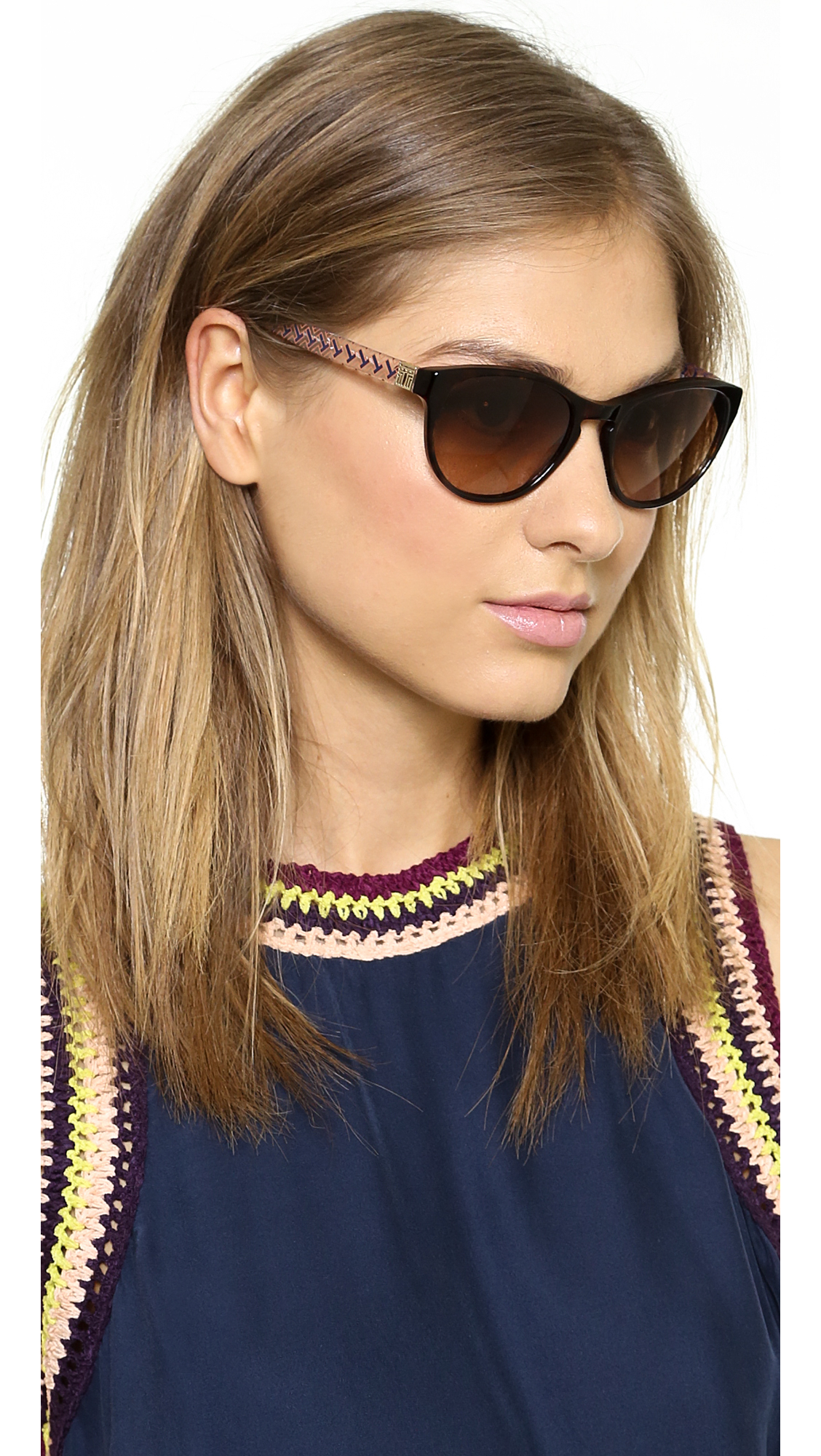 996cf8d00c20 Tory Burch Round Sunglasses - Dark Tortoise/Navy Orange - Lyst