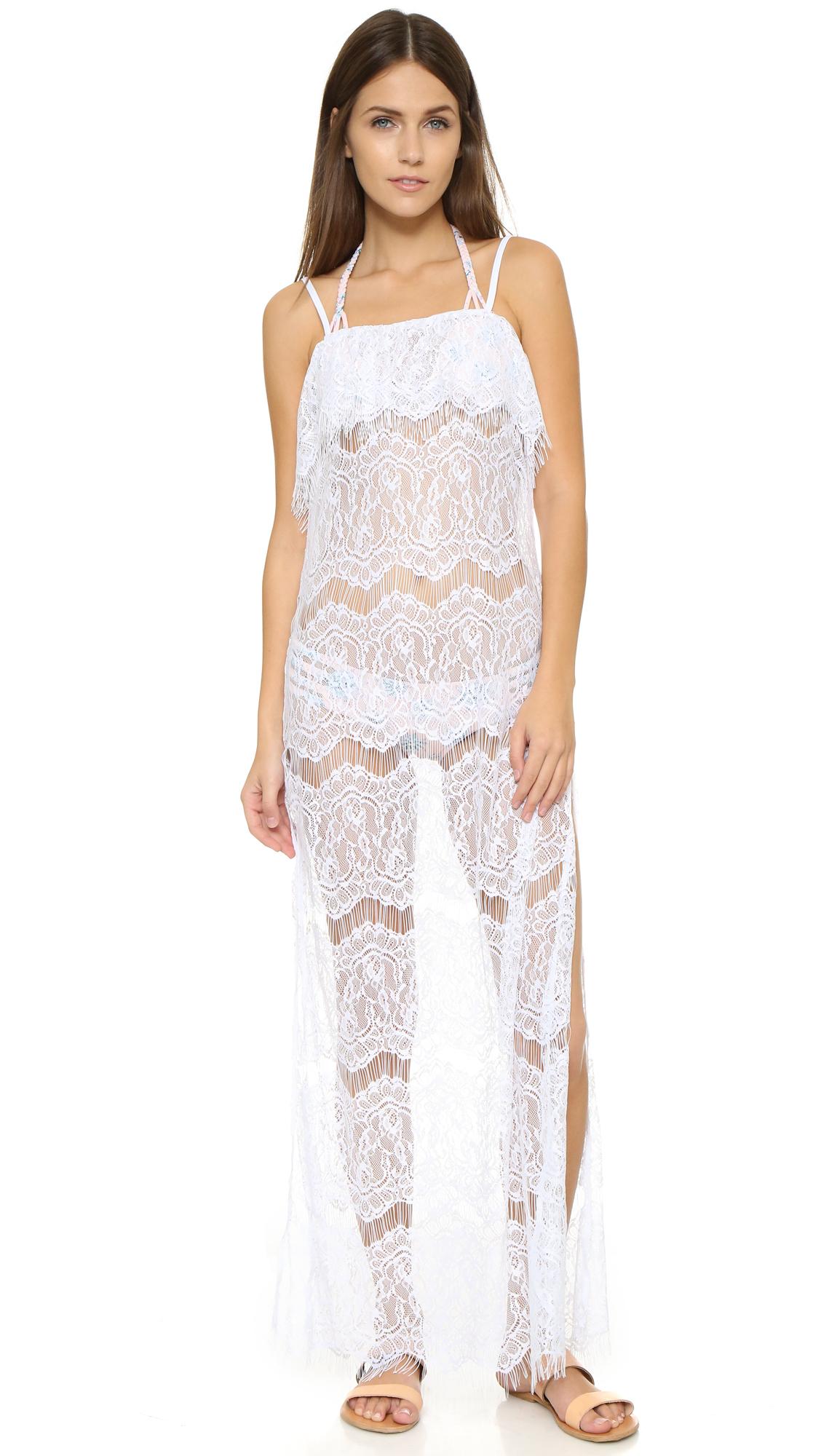 Lyst - Peixoto Long Lace Dress in White