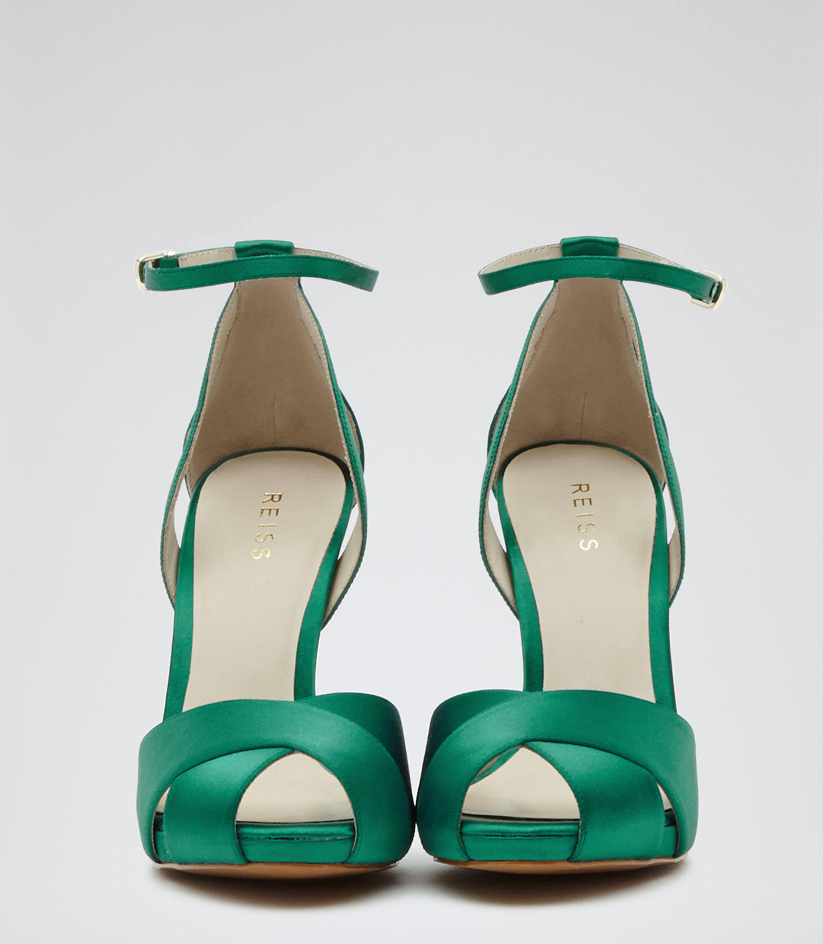 46aaeec227f Lyst - Reiss Cece Crossover Front Sandals in Green