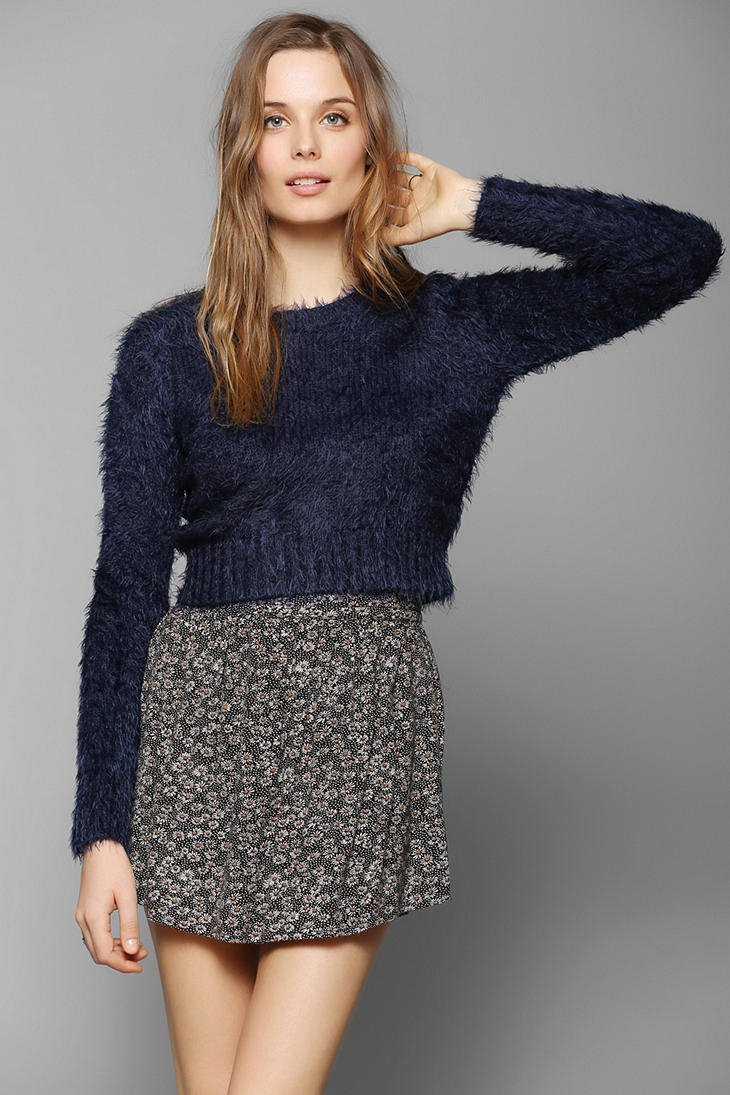 bb4132c9ede0d Lyst - Glamorous Fuzzy Cropped Sweater in Blue