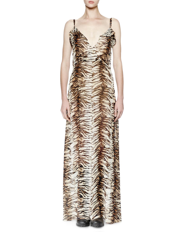 bc2659921cd Lyst - Saint Laurent Animal-Print Silk Gown