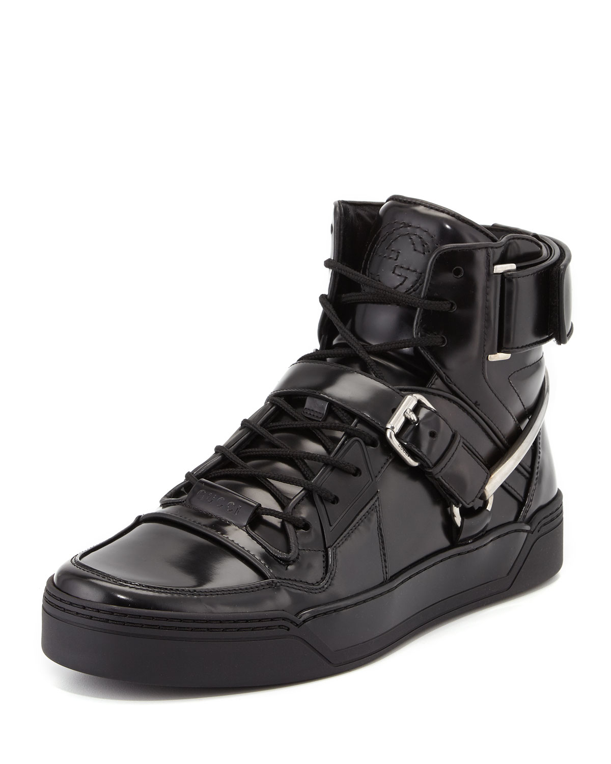 All Black Leather Tennis Shoes High Top