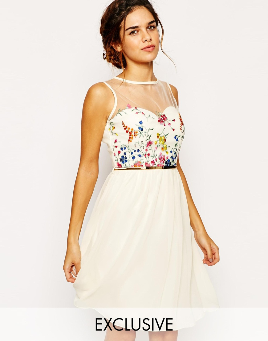 Lyst - Little Mistress Mesh Top Skater Dress With Floral Embroidery ... 594987efc