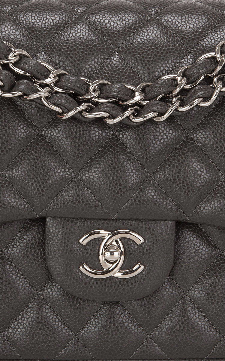 7d2498a9f0f7 Madison Avenue Couture Chanel Dark Grey Quilted Caviar Classic Jumbo ...