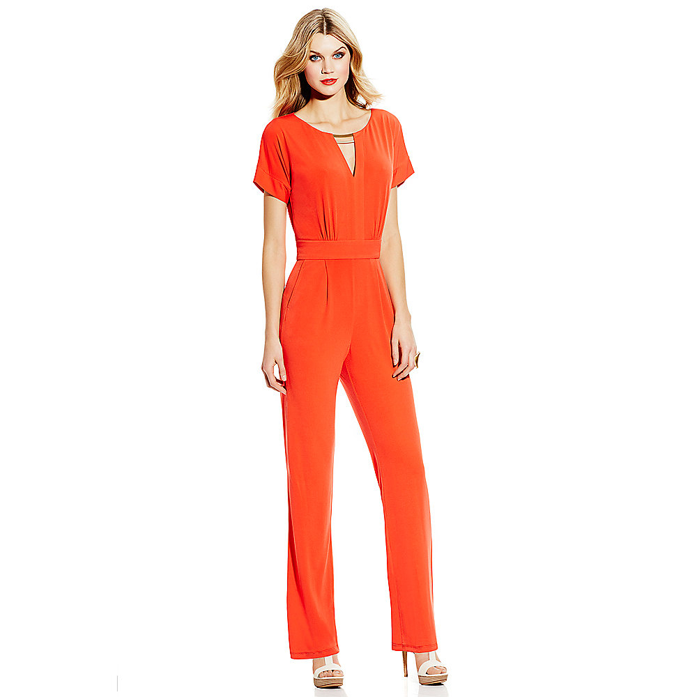 Lyst Vince Camuto Jumpsuit With Blouson Top In Orange