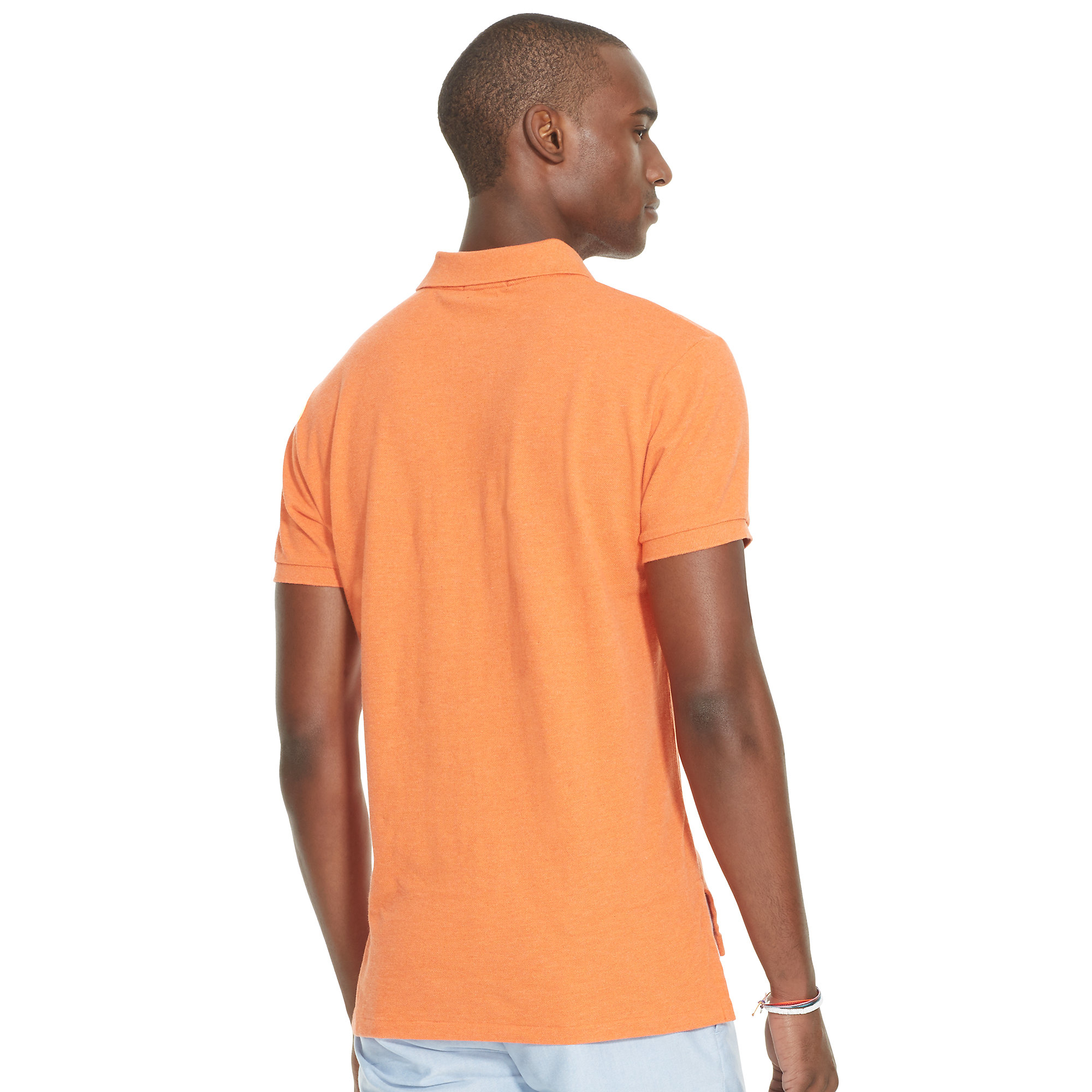 polo ralph lauren slim fit mesh polo shirt in orange for men lyst. Black Bedroom Furniture Sets. Home Design Ideas