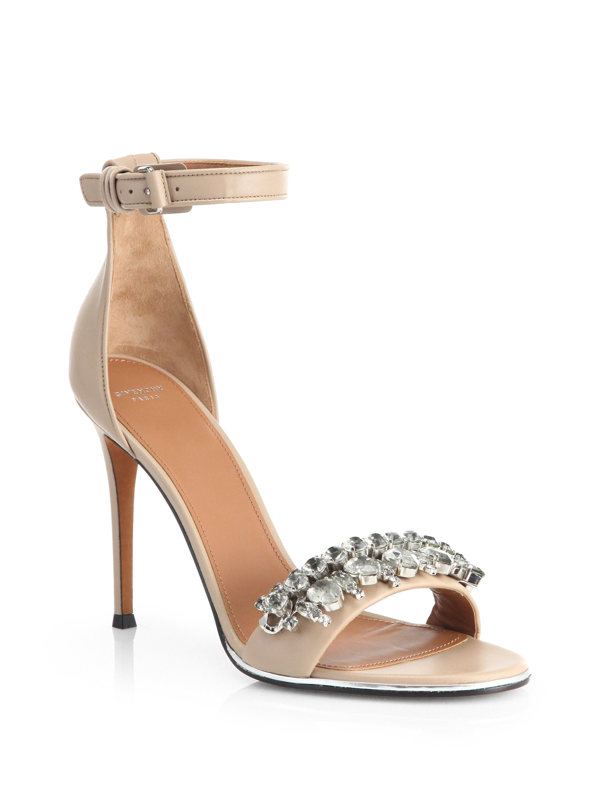 f390f22e8d7 Lyst - Givenchy Jeweled Mona Sandals in Natural
