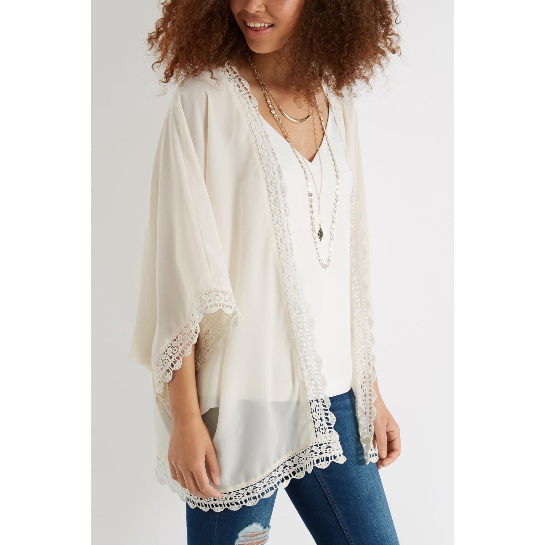 Oasis Lace Trim Kimono Jacket in White | Lyst