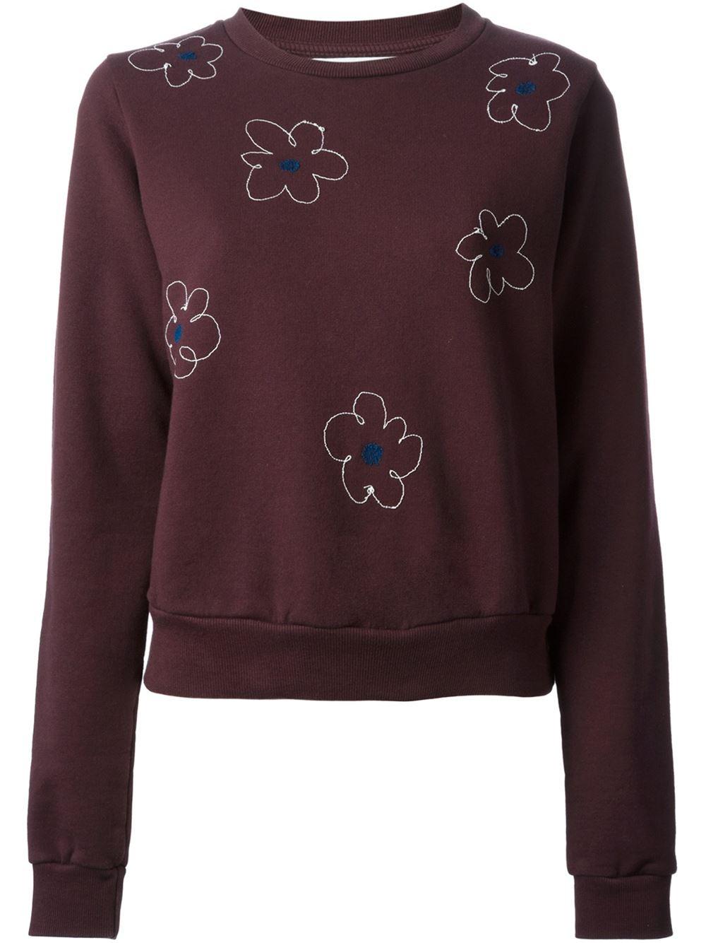 Jimi roos floral embroidered sweatshirt in purple pink