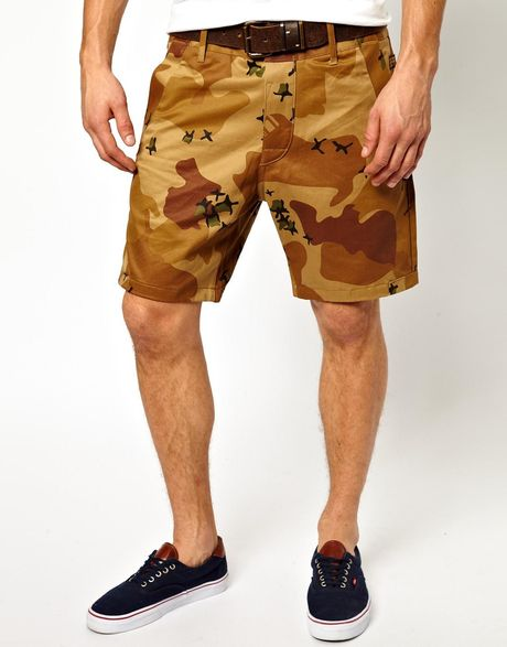 g star raw g star chino shorts bronson camo print in brown. Black Bedroom Furniture Sets. Home Design Ideas