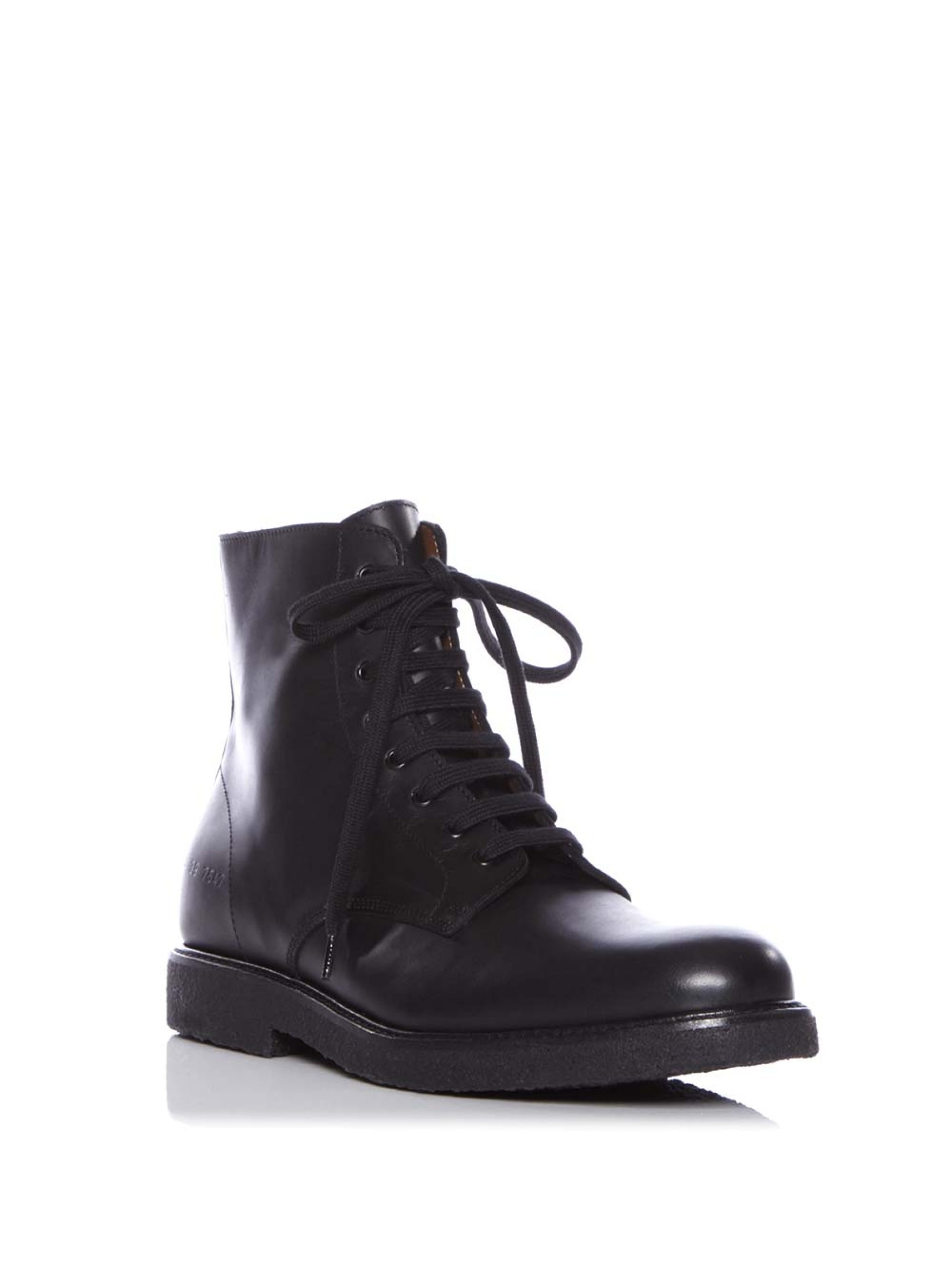 Common projects Lace-Up Leather Combat Boots in Black | Lyst