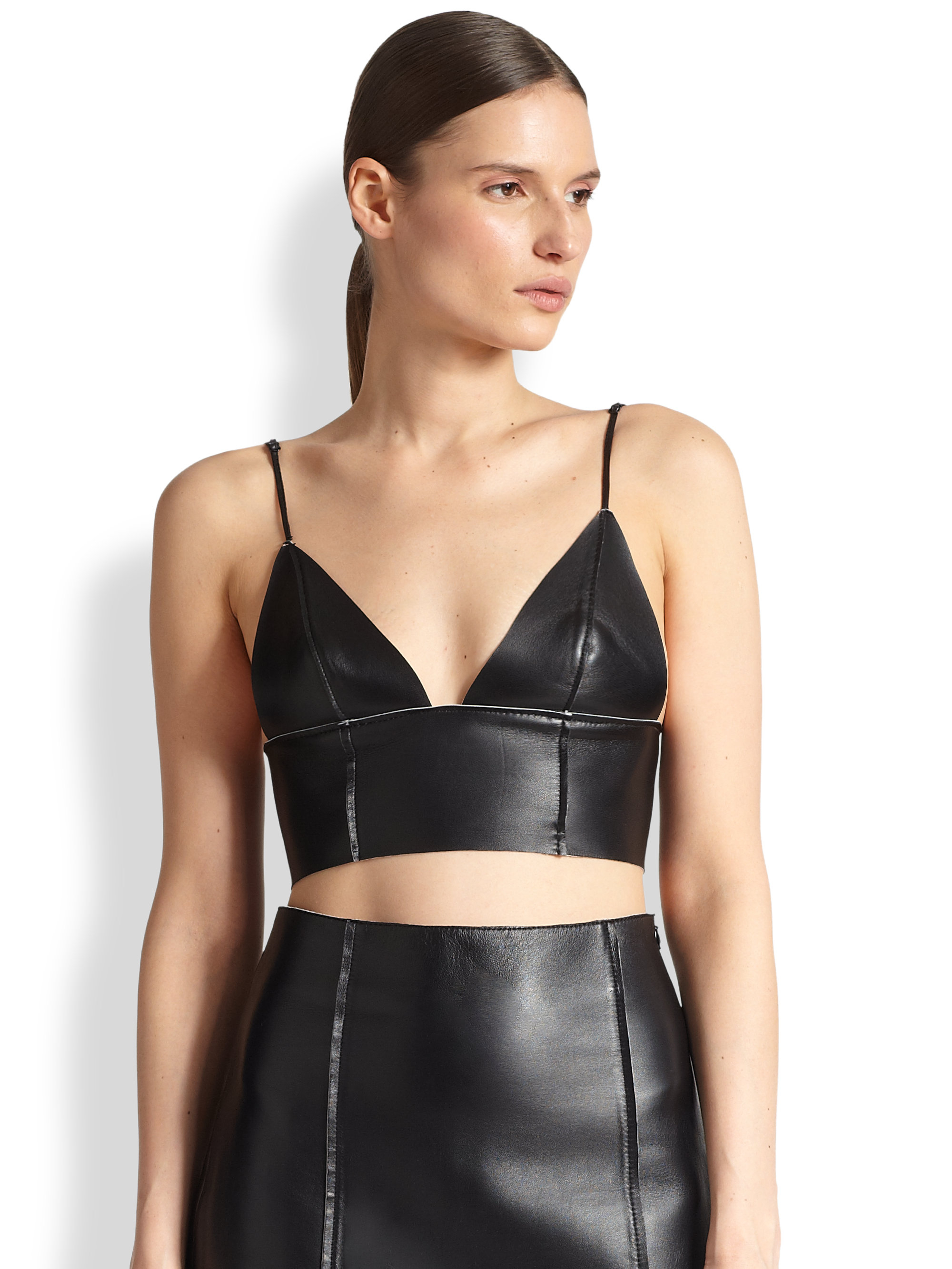 01e2ffab43 Lyst - T By Alexander Wang Leather Bralette Top in Black