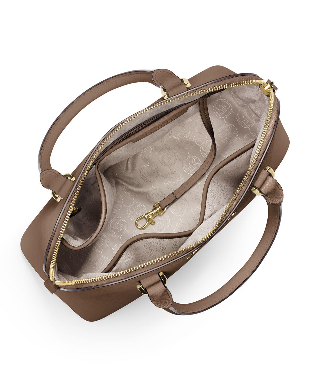 8835eda5f5 Lyst - MICHAEL Michael Kors Cindy Medium Dome Satchel Bag in Brown