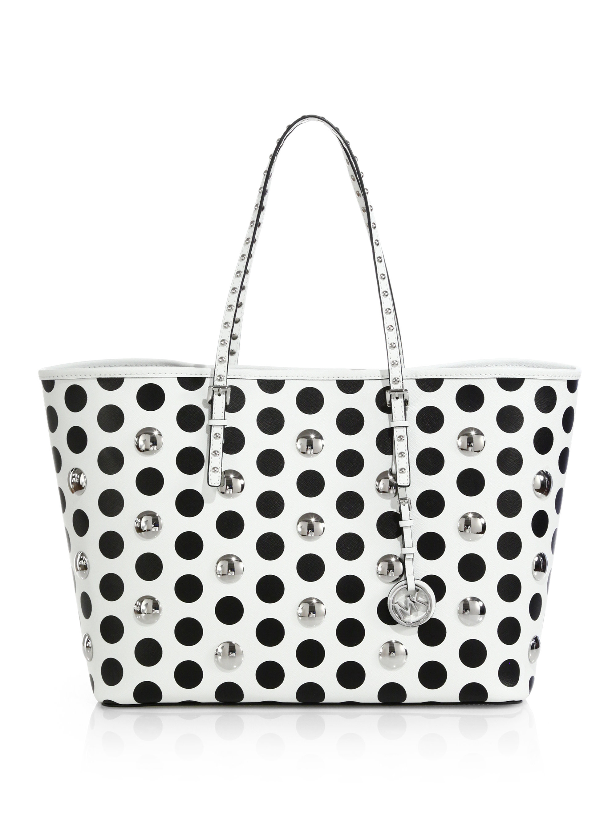 e2843b8dd9553d MICHAEL Michael Kors Studded Polka Dot Medium Travel Tote in White ...