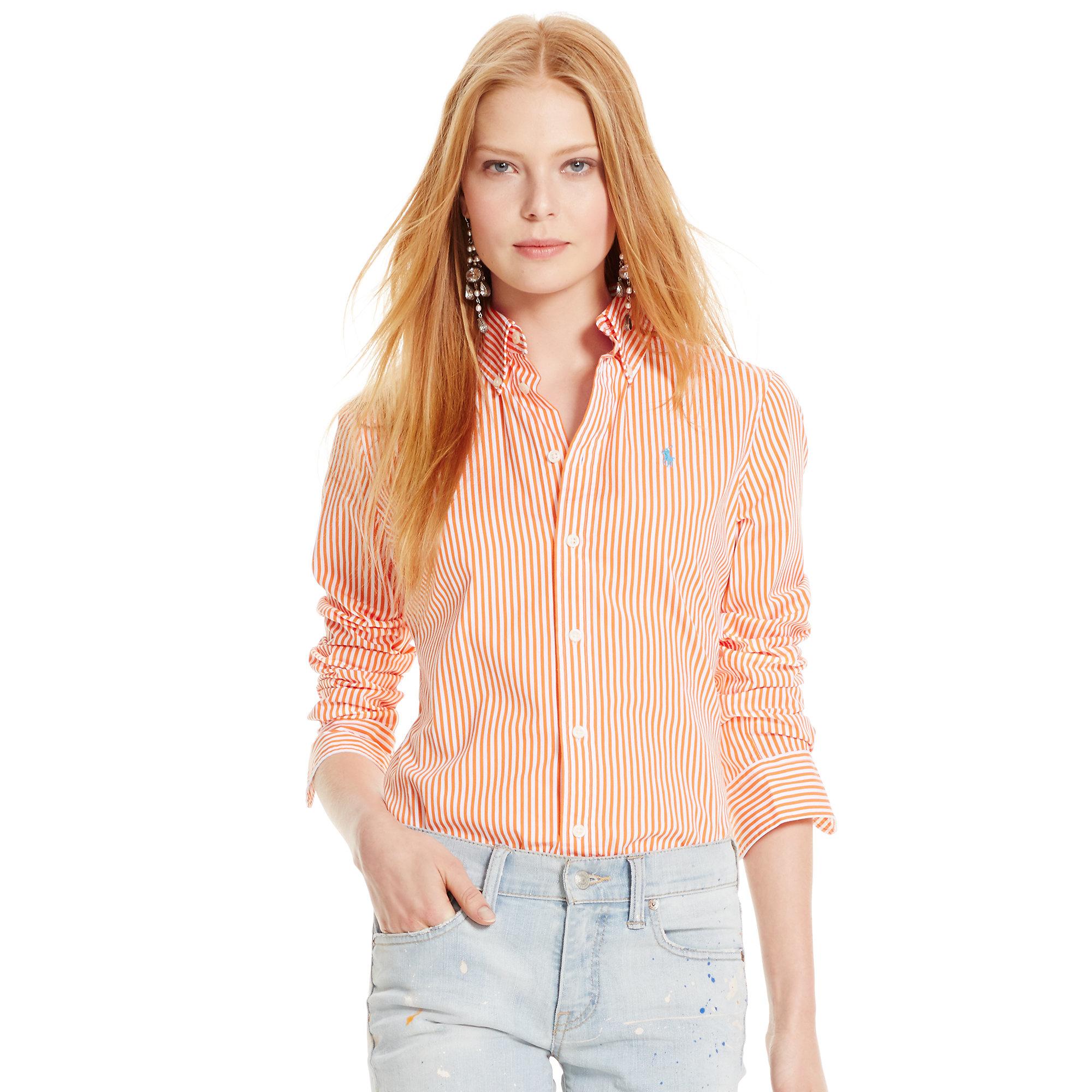 46c1effb30e Polo Ralph Lauren Custom-fit Striped Shirt in Orange - Lyst