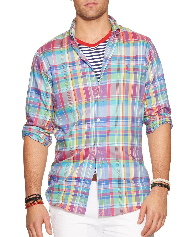Lyst - Ralph lauren Polo Plaid Oxford Button Down Shirt - Slim Fit ...