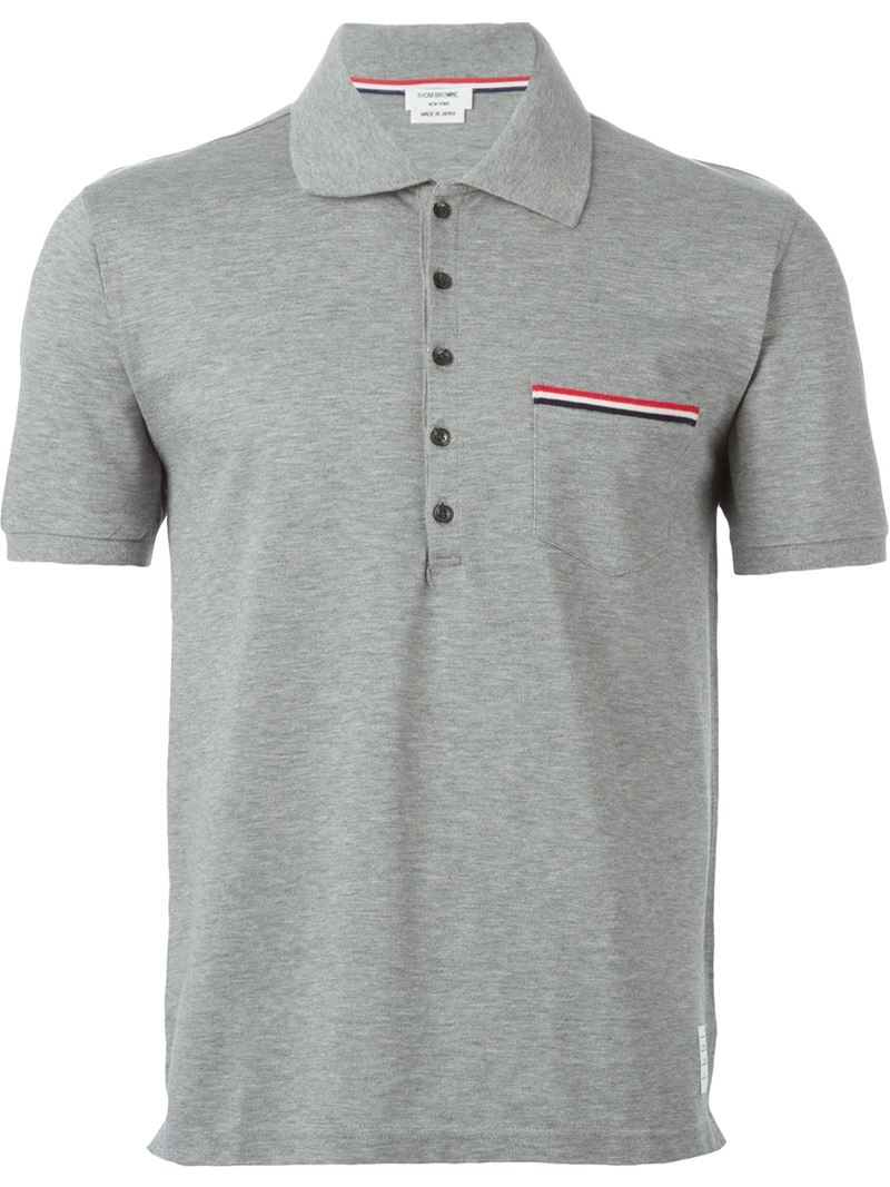 Thom browne pocket polo shirt in gray for men grey lyst for Thom browne shirt sale