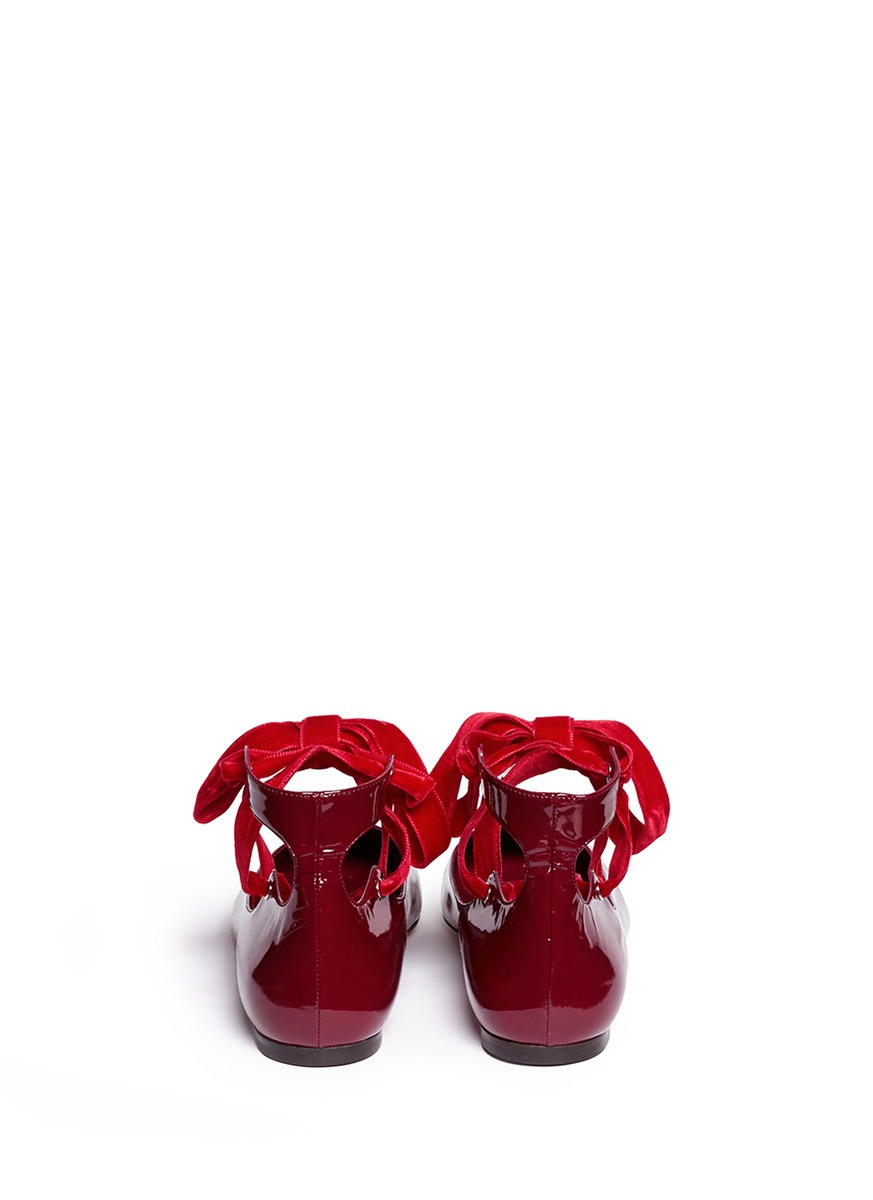 Burgundy And Black Patent Shoes With Ribbon