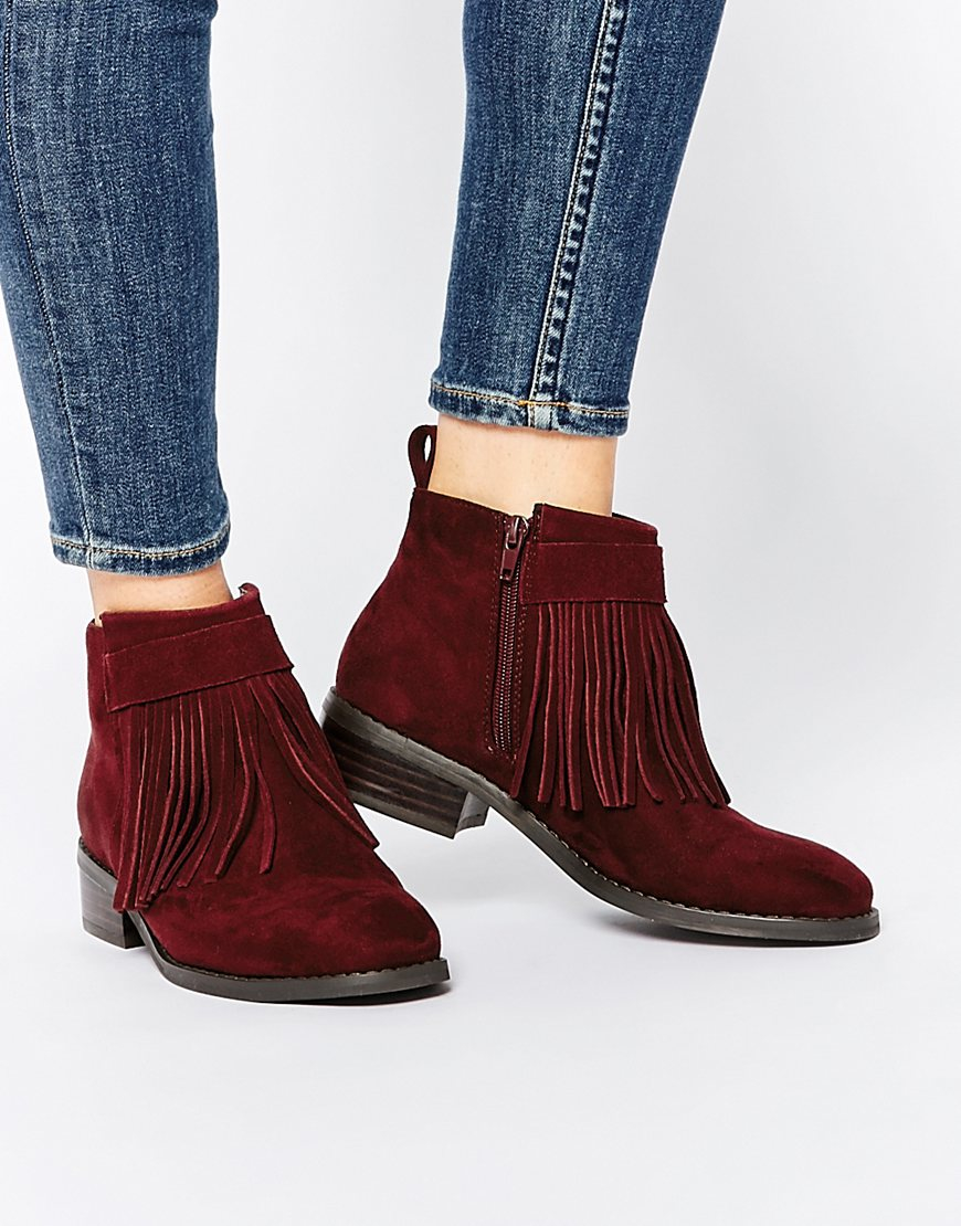 Asos Against The Wind Fringe Ankle Boots in Purple | Lyst