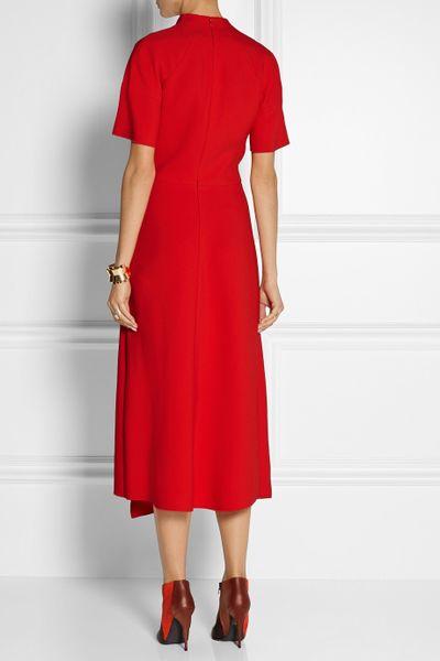 Victoria Beckham Asymmetric Crepe Midi Dress In Red Lyst
