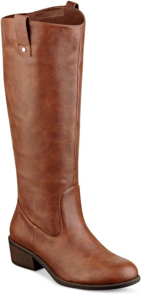 pink and pepper wide calf regee boots in brown cognac lyst