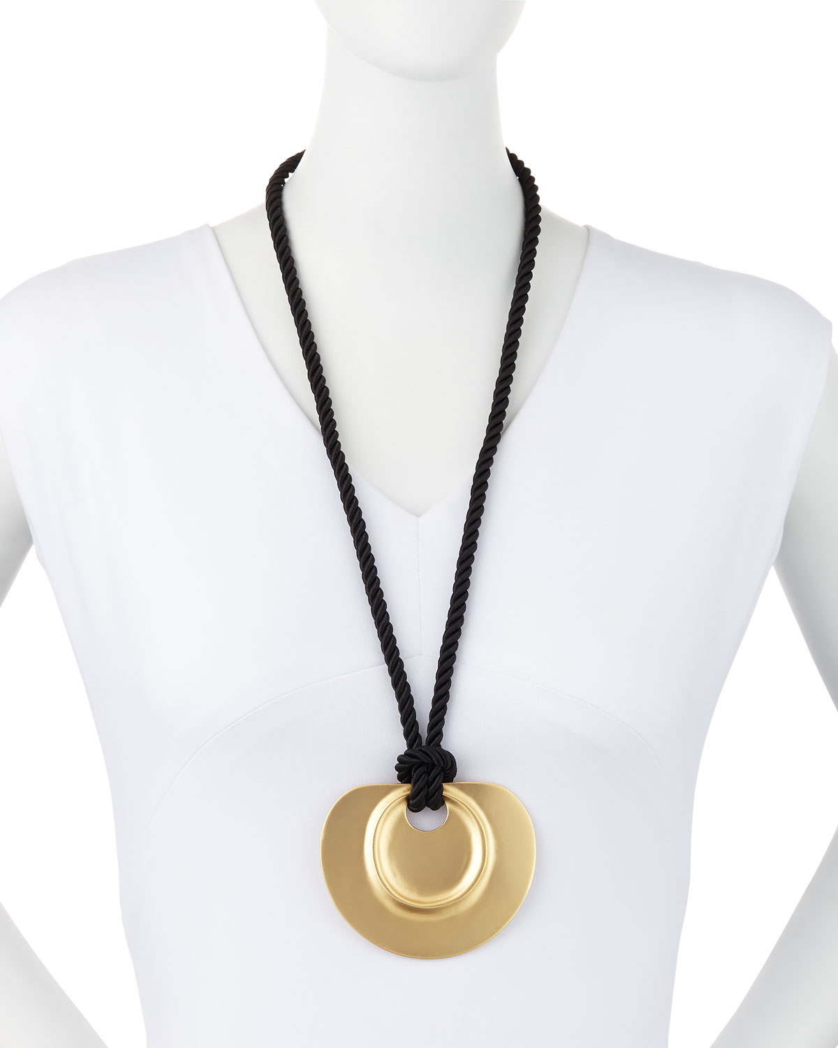 Lyst kenneth jay lane long golden pendant necklace w black cord gallery mozeypictures Choice Image