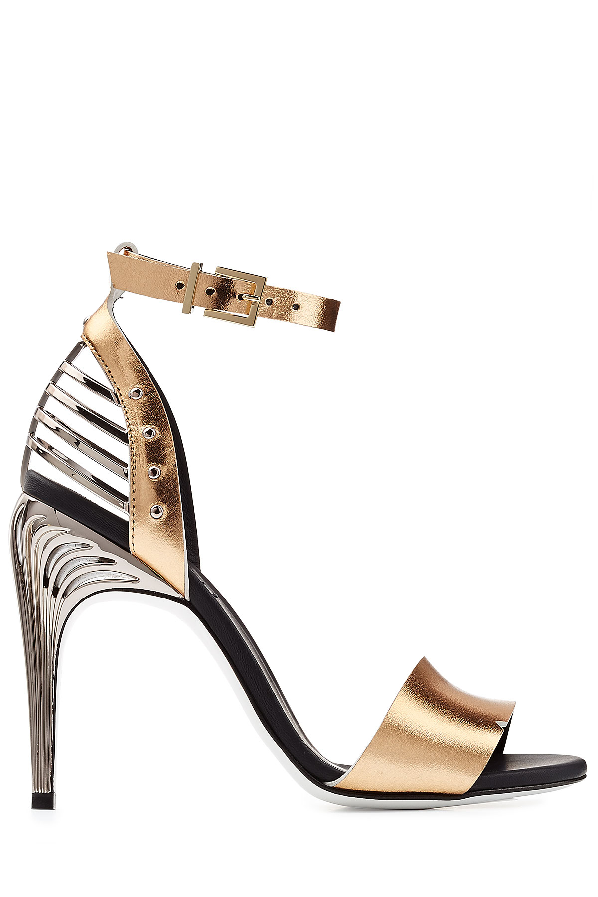 a96090336078fd Lyst - Fendi Metallic Leather Sandals - Gold in Metallic