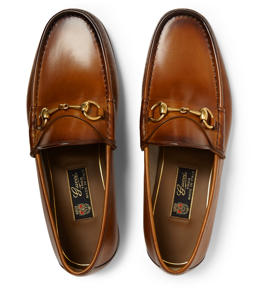 245429f9824 Gucci Loafers For Men. Gucci Burnished-Leather Horsebit Loafers in Brown  for Men - Lyst