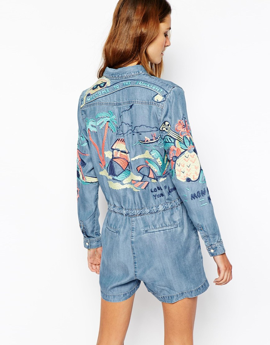 Lyst paul joe denim romper with embroidered detail in blue