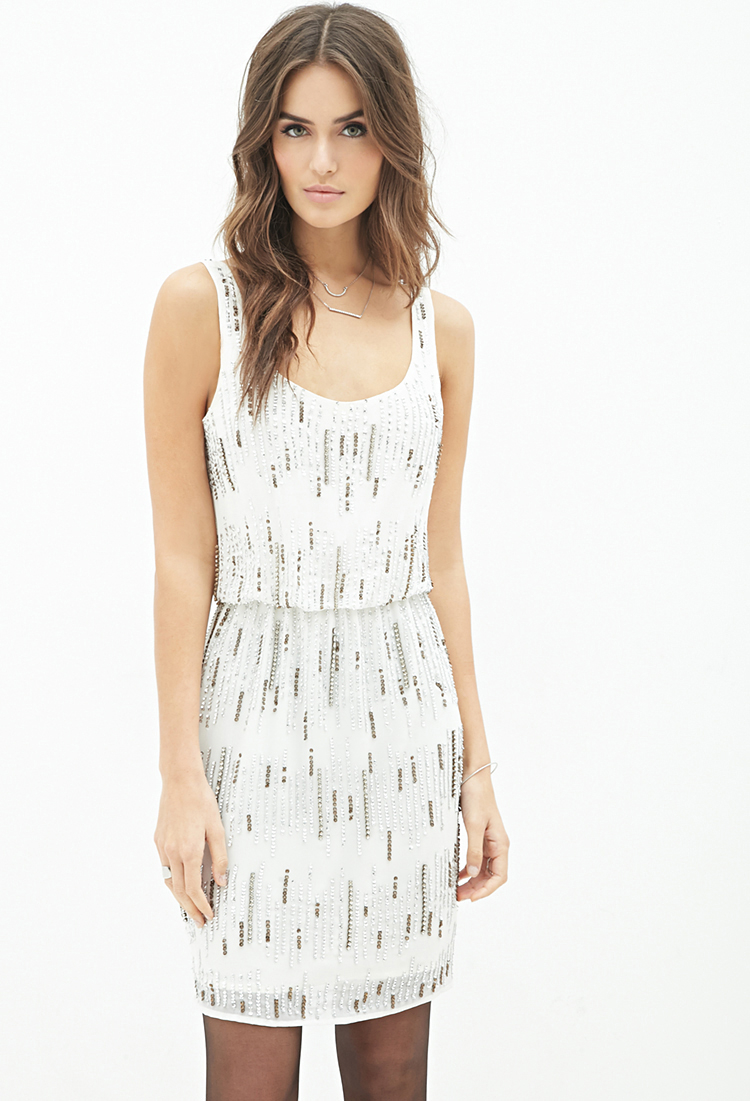 Lyst - Forever 21 Contemporary Sequin-embellished Dress in White