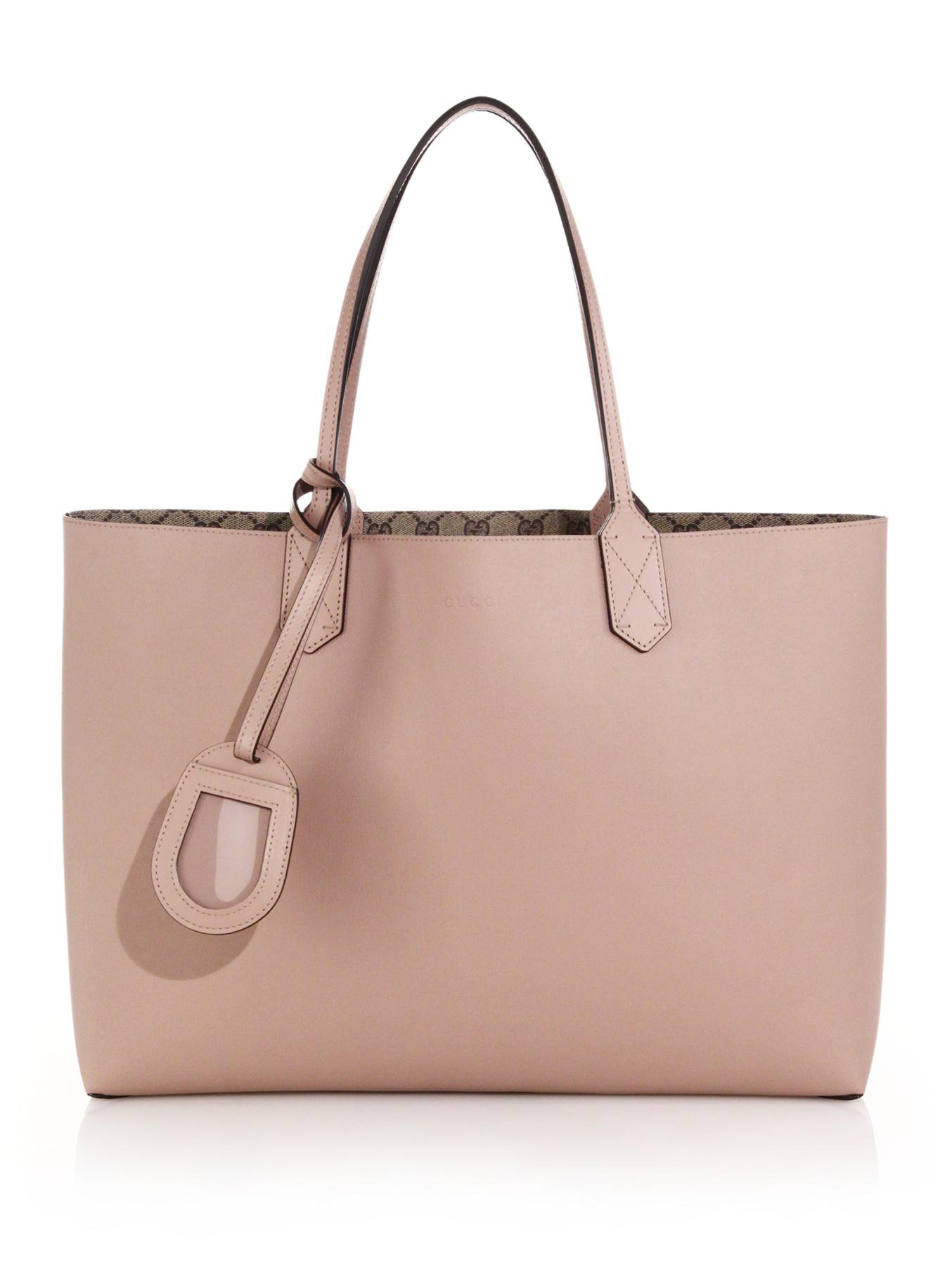 97c4f94141a6 Gucci GG Reversible Medium Leather Tote in Pink   Lyst