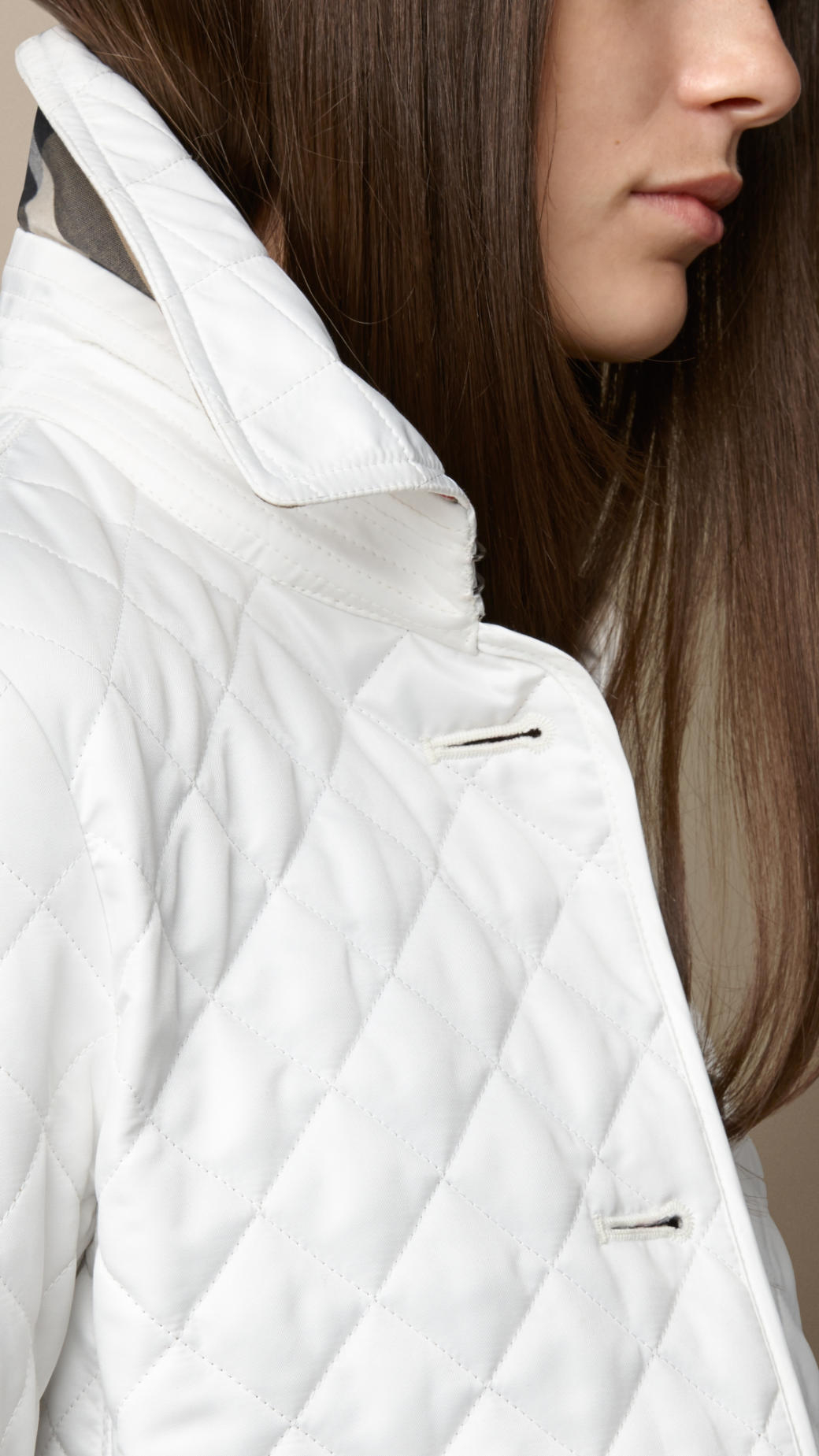 Burberry Diamond Quilted Jacket In White Lyst