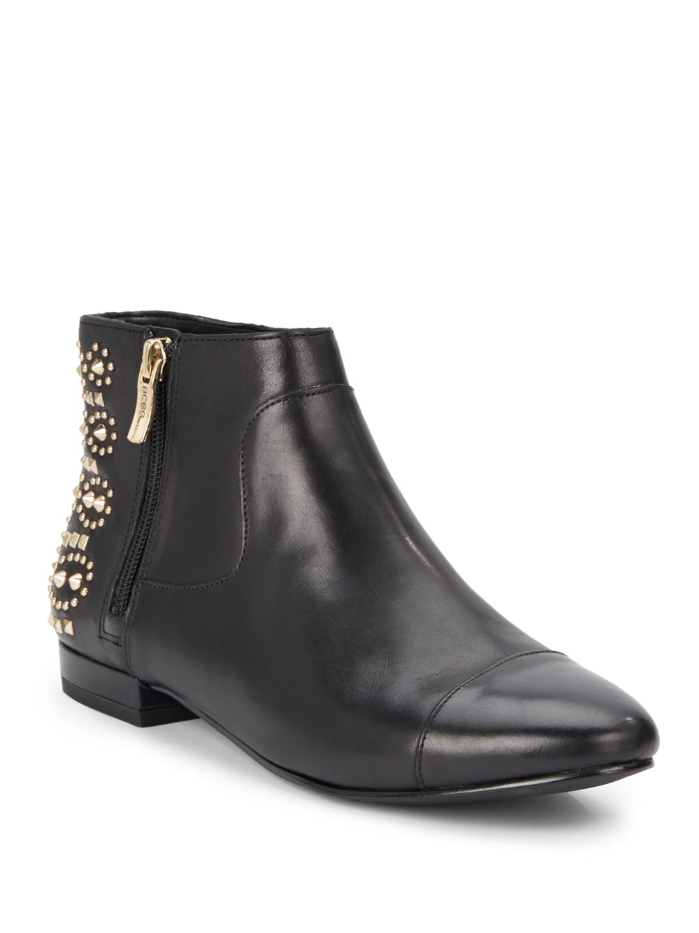 bcbgeneration logann studded leather ankle boots in black