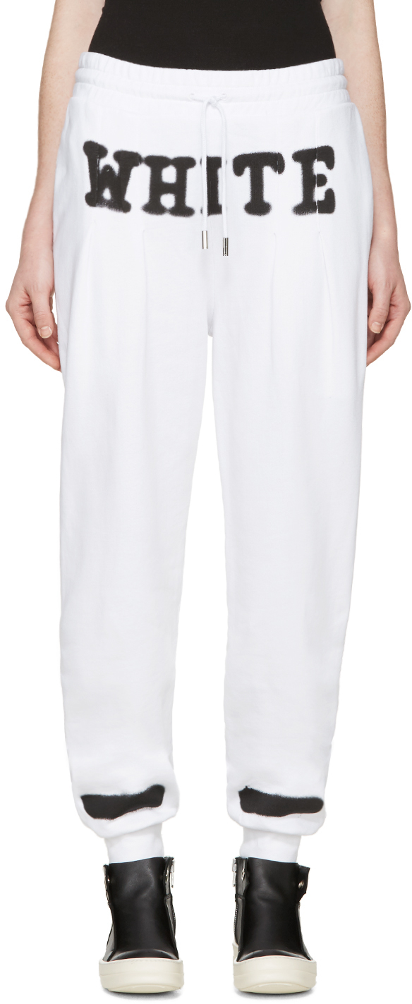 lyst off white c o virgil abloh white spray paint lounge pants in white. Black Bedroom Furniture Sets. Home Design Ideas