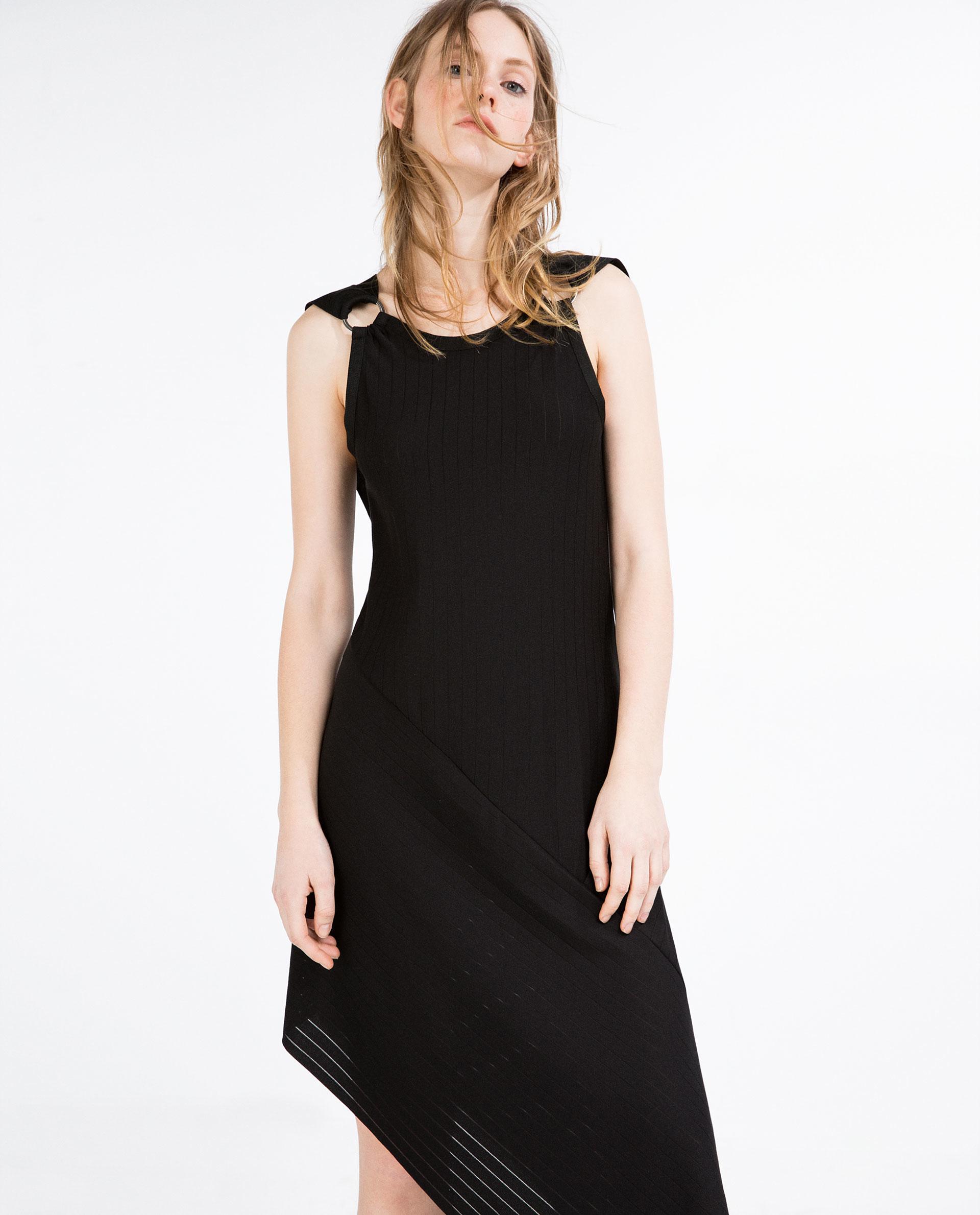 Zara asymmetric length dress in black lyst for Zara black t shirt dress