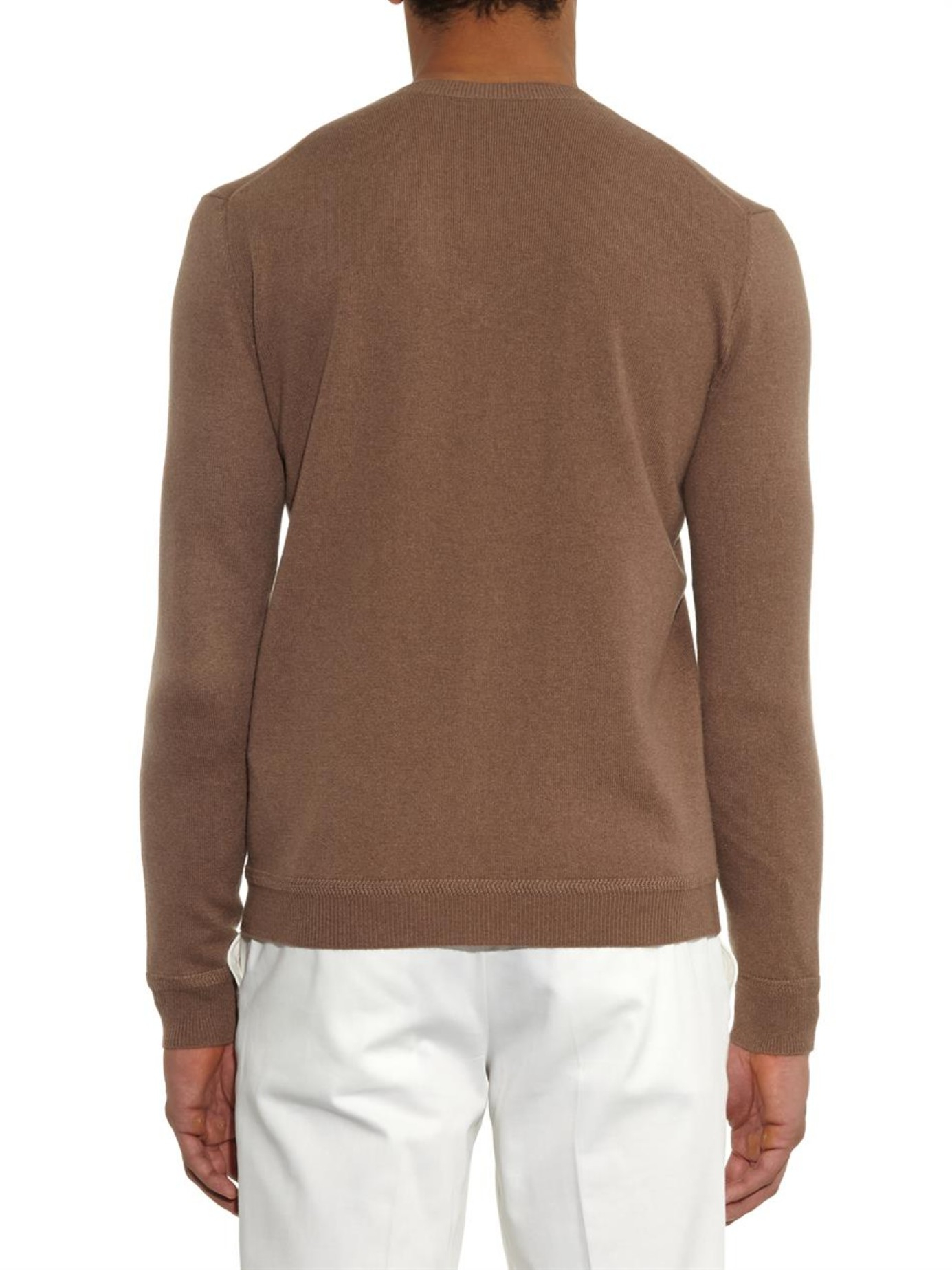 8a62bca5b616be Gucci V-neck Cashmere Sweater in Brown for Men - Lyst