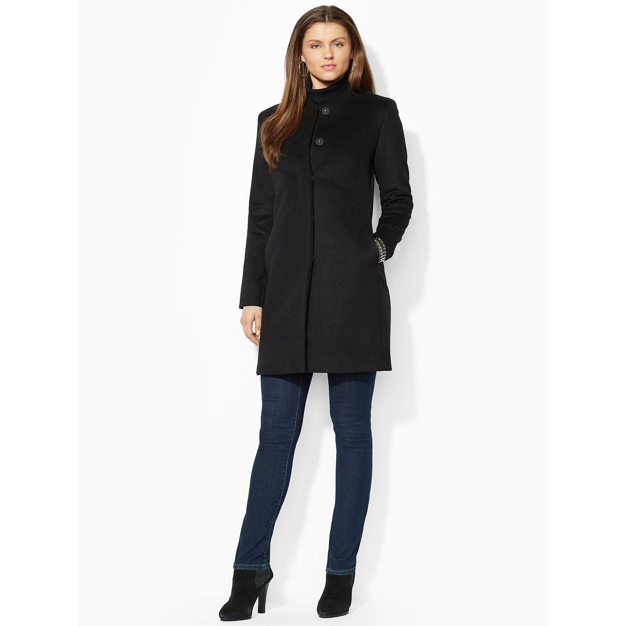 Ralph lauren Wool-blend Collarless Coat in Black | Lyst