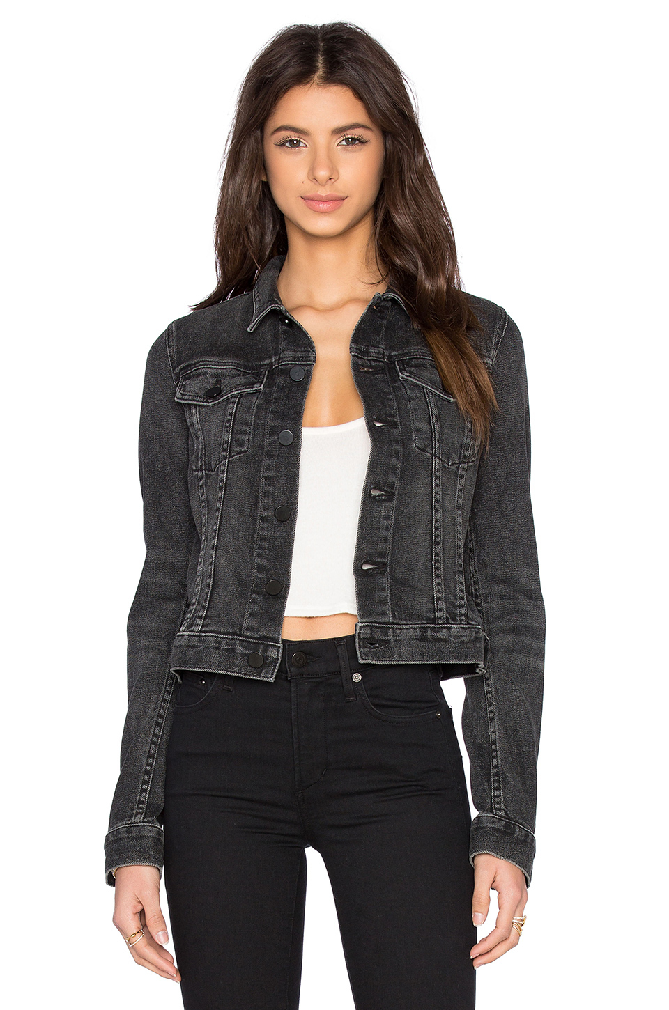 Alexander wang Axle Cropped Denim Jacket in Black | Lyst