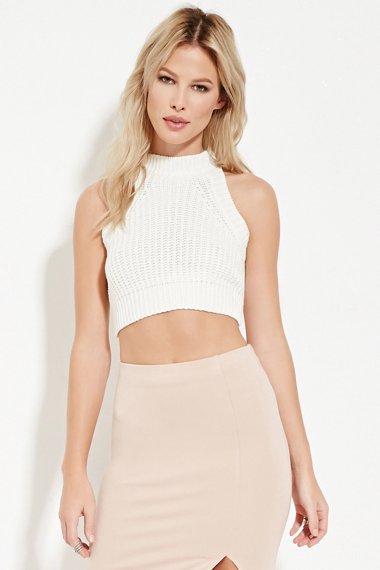 45ad3ccd52 Lyst - Forever 21 Ribbed Knit Cropped Sweater in White