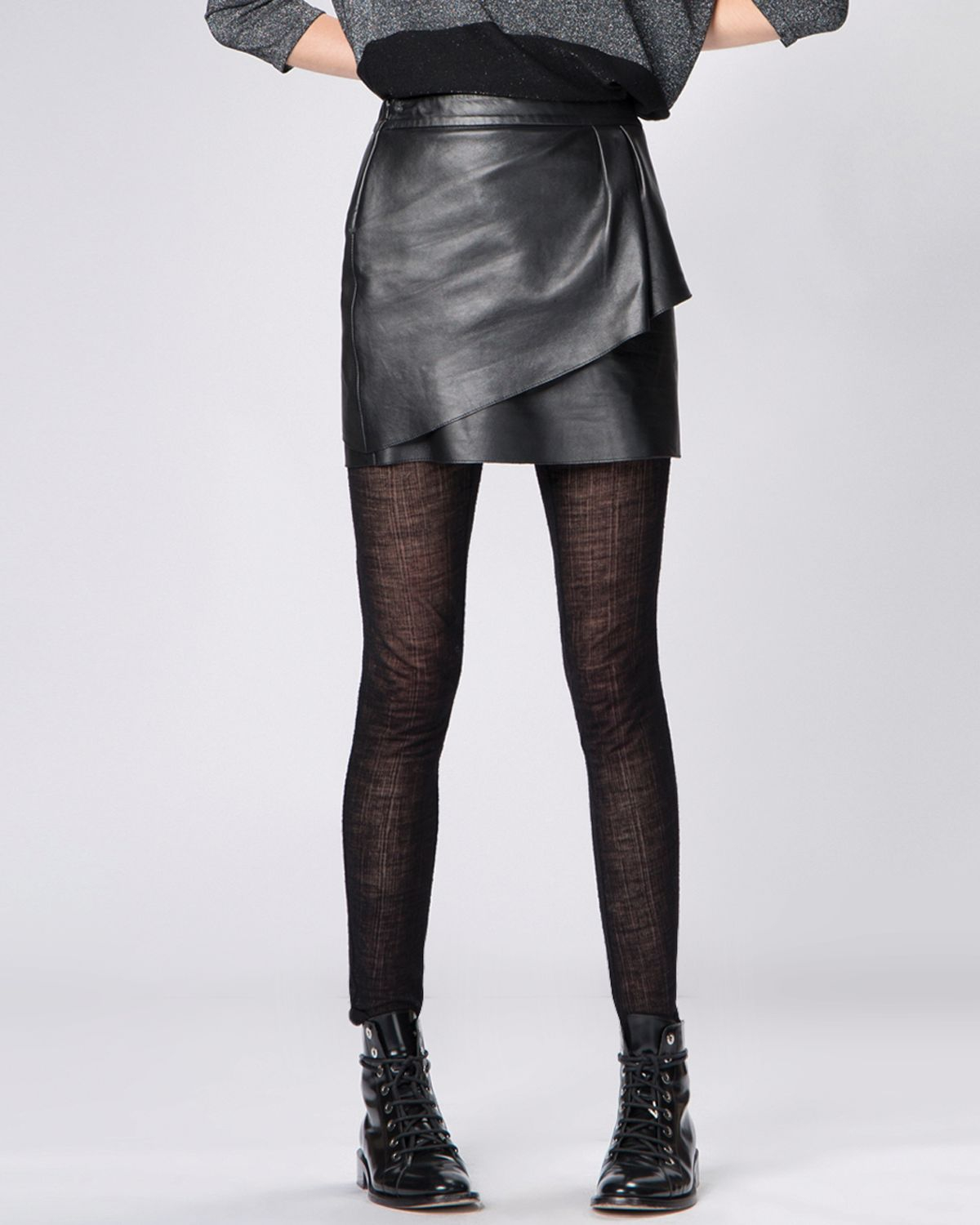 maje skirt gaia leather in black lyst