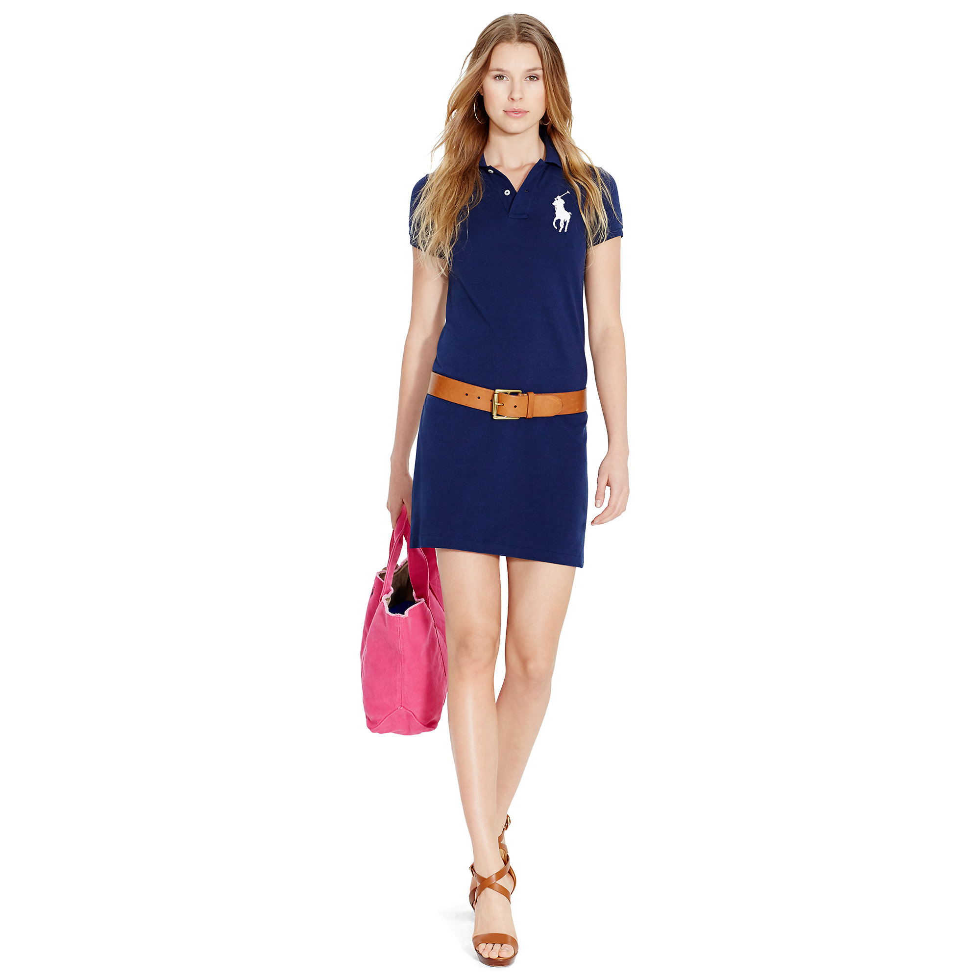 fba63ce402bf4 Lyst - Polo Ralph Lauren Big Pony Mini Shirtdress in Blue
